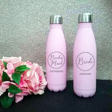 bridesmaid drink bottles, bridesmaid gifts, gift for bridesmaid, personalised bridal party drink bottles