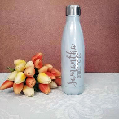 personalised drink bottle for bride, bride gift, drink bottles personalsied weddings, stainless steel personalised drink bottles