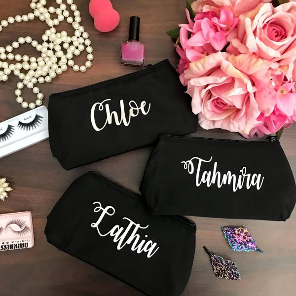 personalised makeup bags, gifts for makeup lovers, bridesmaid gifts, makeup purse