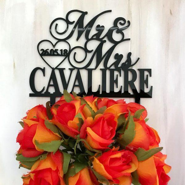 Customised Wedding Cake Topper, Designer Elegant Mirror Cake Topper, Personalised Cake Topper Australia, Name and Date Wedding Cake Topper