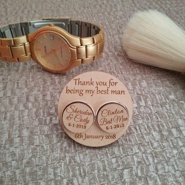 wooden wedding cufflinks, personalised wood cuff links, personalised cufflinks for weddings