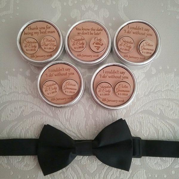 groomsmen cufflinks, personalised bridal party cufflinks, wood cufflinks, Engraved cufflinks, custom cufflinks