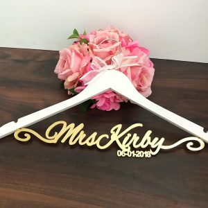 glamourous wedding coat hanger, elegant personalised coat hanger, wedding coat hanger personalised