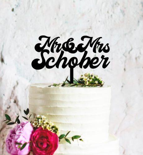 Custom Wedding Cake Topper, Mr and Mrs Surname Toppers, Personalised Cake Toppers for Modern Wedding, Custom Wooden Cake Toppers Australia
