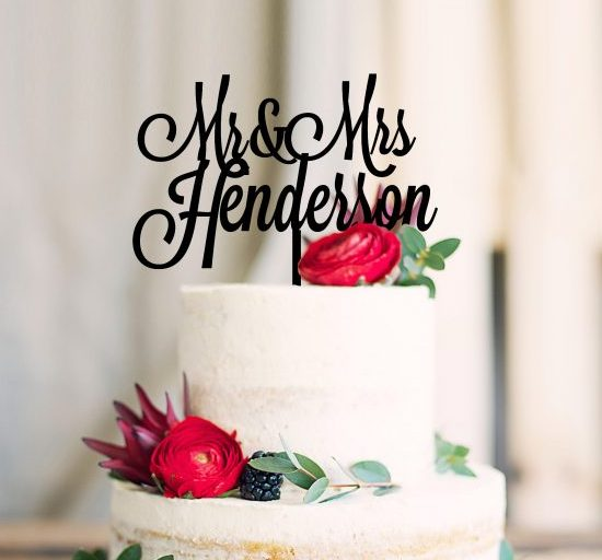 Fancy Font Cake Topper, Last Name Toppers, Personalised Surname Mr Mrs Cake Toppers, Wedding Cake Decor, Custom Cake Toppers Australia