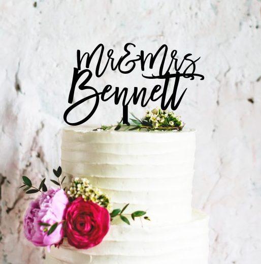Custom Wedding Cake Topper, Custom Calligraphy Personalised Mr & Mrs Cake Topper for Wedding, Personalised Wedding Cake Topper Australia