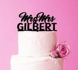 Wedding Cake Topper, Customised Surname Cake Topper, Mr and Mrs Cake Topper, Cake Topper for Same Sex Wedding, Acrylic Cake Topper Weddings