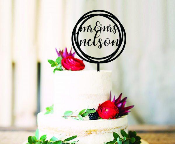 Round Custom Name Cake Topper For Wedding Bridal Bling