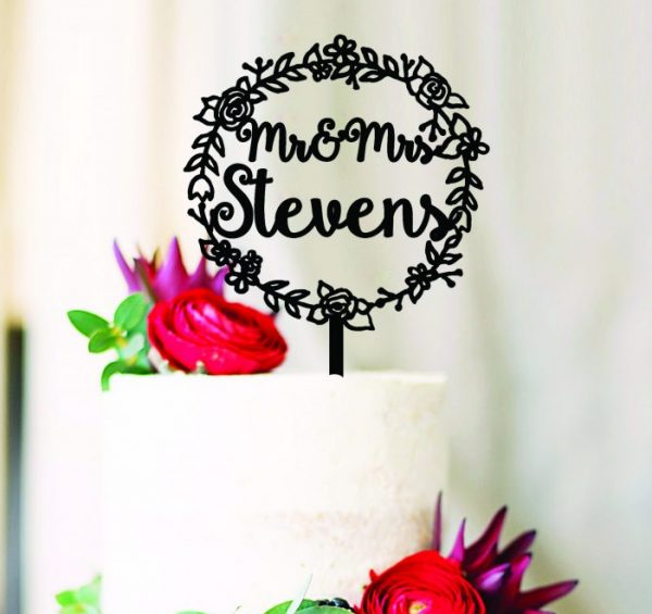 Custom Wedding Flower Wreath Cake Topper, Mr and Mrs Name Cake Toppers, Pretty Country Themed Wedding Cake Toppers Australia
