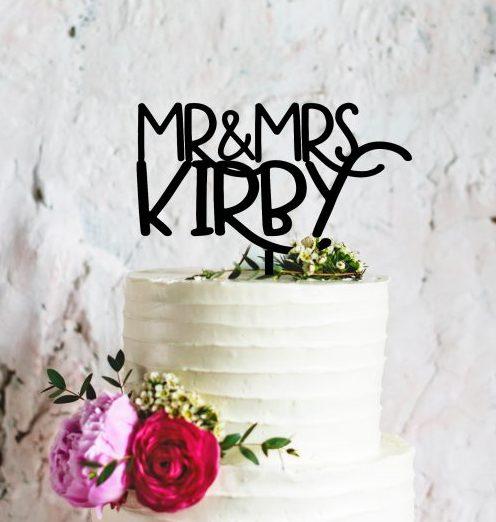 Custom Personalized Wedding Cake Topper, Custom Last Name Topper, Mr and Mrs Topper, Rustic Wedding Topper, Fancy Font Engraved Cake Topper