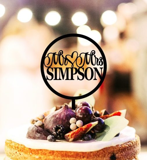 Round Mr and Mrs Custom Wedding Cake Topper, Personalised Last Name Cake Topper, Rustic Mr & Mrs Cake Topper, Bridal Bling Australia