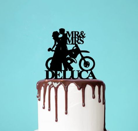 Personalised Motorbike Wedding Cake Topper, Bride and Groom Motorbike Topper, Biker Couple Cake Topper, Mr & Mrs Toppers Australia