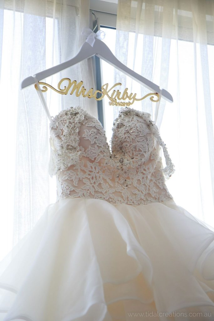 beautiful wedding coat hanger, elegant personalised mrs coat hanger, mrs name hanger, bride coat hanger