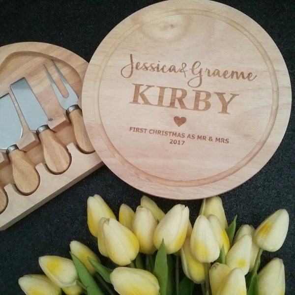 cheese board with knives, custom made cheese board with knives, personalised wedding gifts Australia