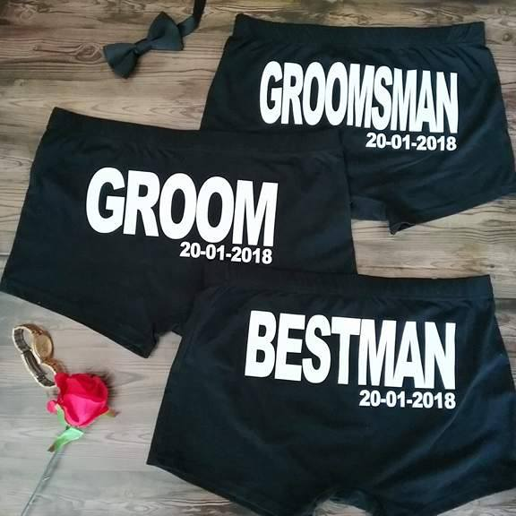 bridal party underwear, personalised underwear for men, groom underwear, best man underwear