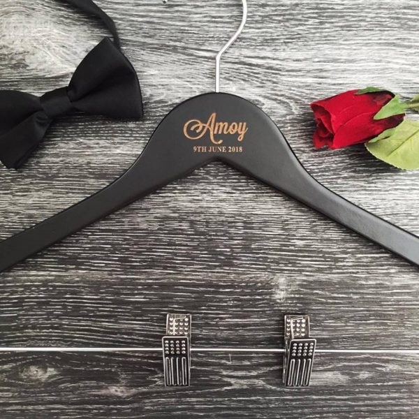 mens wedding coat hanger, personalised wooden hangers with pant clips