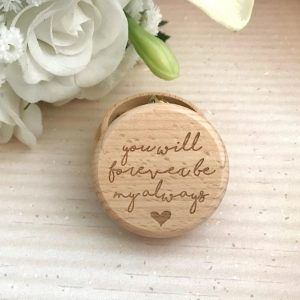 rustic ring box, round wood ring box, cute ring box, engraved ring box