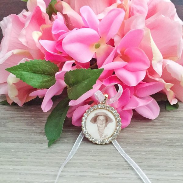gold crystal photo charm, rose gold crystal memory charm, rose gold bouquet charm for wedding