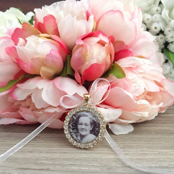 Rhinestone Photo charm for Bridal Bouquet, Rhinestone Charm for wedding bouquet, Remembering deceased loved ones for weddings
