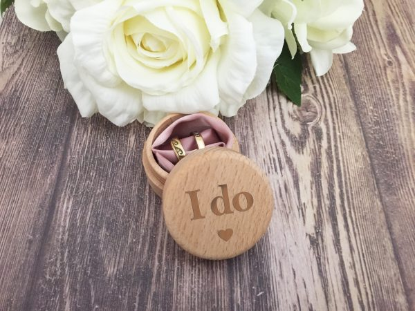 I do ring box, wooden ring box, ring box engraved, small ring box