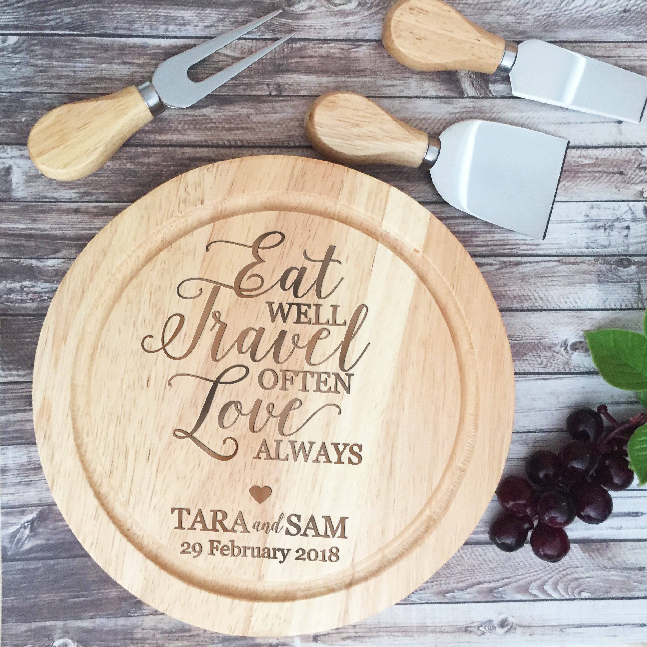 Personalised Wood Cheese Board Set Bridal Bling