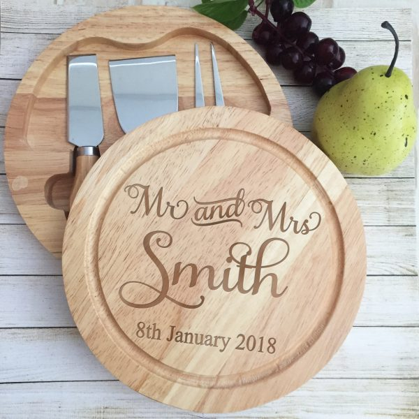 cheese board and knife set, personalised engraved cheese board, wooden cheese boards