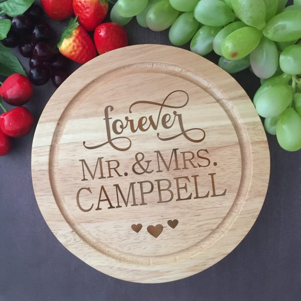 personalised chopping board, cheese board set, Wedding Gift Australia, Personalised Wood anniversary gift Australia