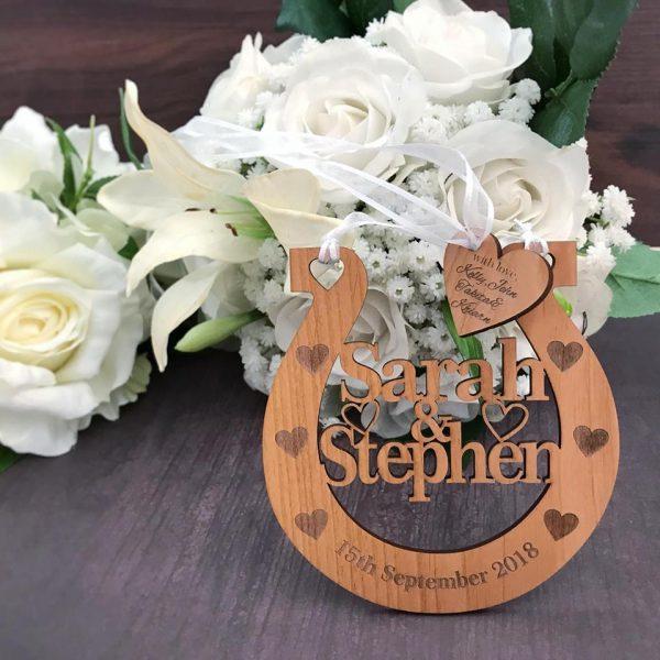 good luck horseshoe, wood horse shoe for wedding, personalised wedding horseshoe wedding gift