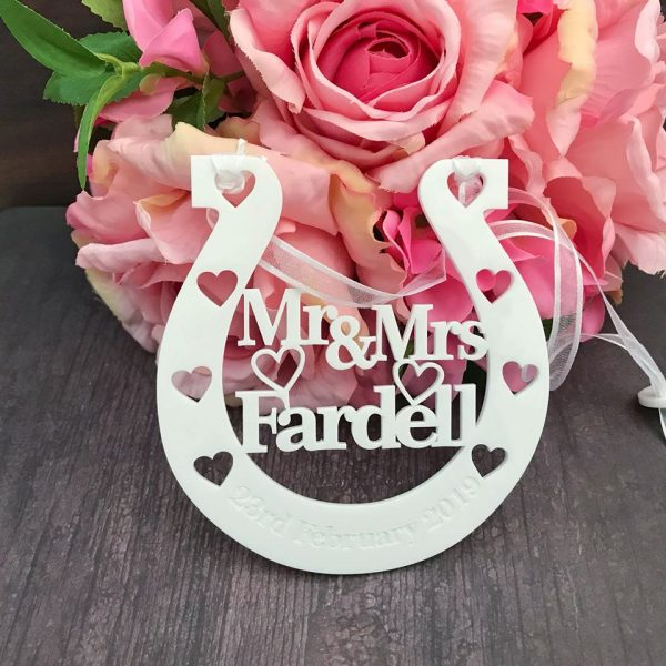 wedding horseshoe Australia, personalised wedding horse shoe Australia, Bridal Gift for Bride, white horseshoe for wedding