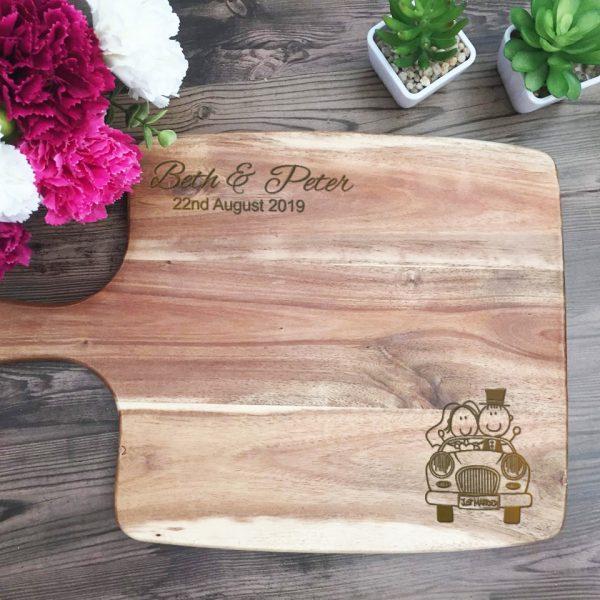 Cute Wedding Gift, Personalised Engraved Board, Wedding Cheese Board, Custom Chopping Board