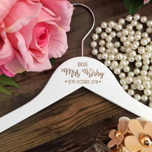 personalised wedding coat hanger, laser engraved hanger for bridal party, personalised bridesmaid gifts, bridal party gift