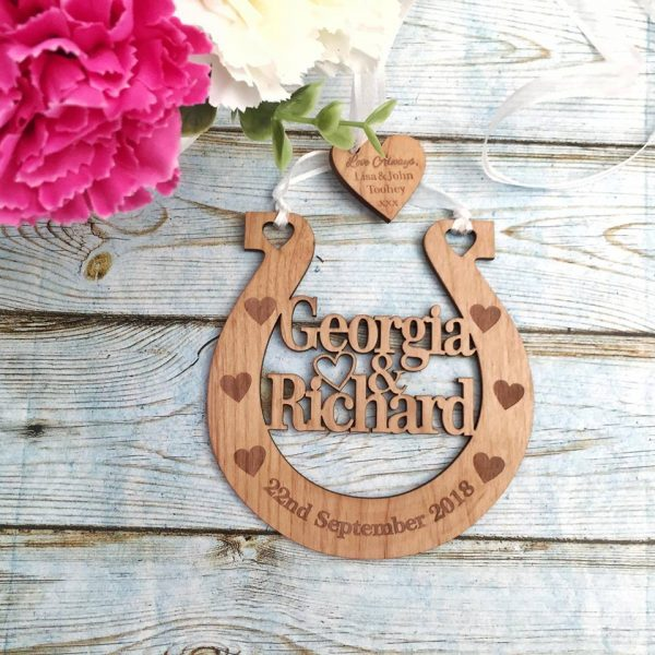 wooden wedding horseshoe, gift for bride, something blue horse shoe, bridal keepsake