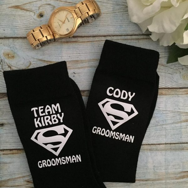 Team Groom gift, Superhero wedding socks, socks for groomsmen, bestman superhero