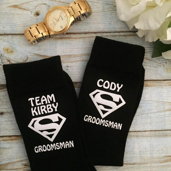 personalised superhero socks, wedding socks for men,