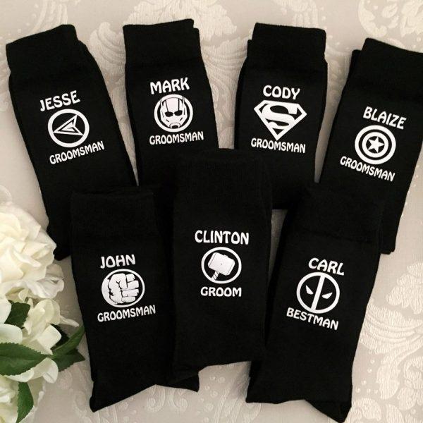 superhero socks for weddings, weddign socks with superhero designs