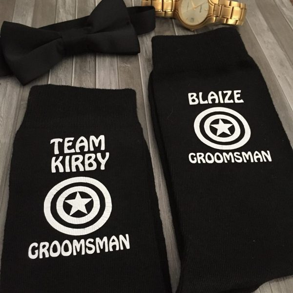 personalised Groomsmen wedding socks, wedding socks superhero