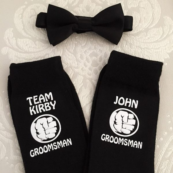 team groom socks, novelty wedding socks super hero, groomsmen socks personalised