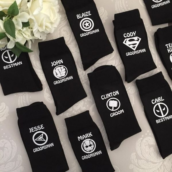 Wedding socks superhero, bridal party gift, superhero wedding, wedding socks