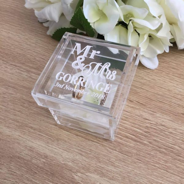 Ring Bearer Ring Box, Wedding Ring Box, Rustic Ring Box, Clear Ring Box,