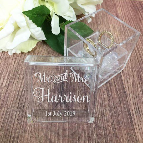 acrylic Ring Box, Engraved Wedding Box, Ring Box look likes Glass, Mr Mrs Ring Box Customised