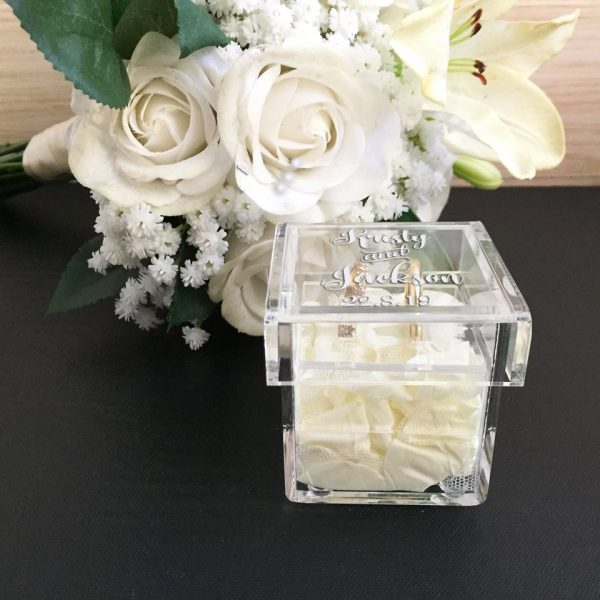 Floral Ring Box, ring Box Clear Glass, Ring Box with Flowers