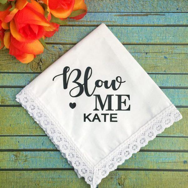Blow Me Handkerchief, Rude Wedding Gift, Swear Word Wedding Gift, Swear word wedding Hanky
