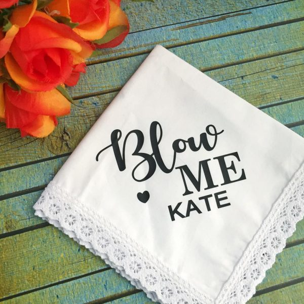 Blow Me Gift, Personalised Funny Handkerchief, Novelty Hanky for Bridesmaid