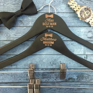 personalised mens pant hangers, personalised groom hangers, personalised bridal party hangers