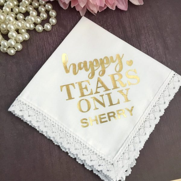 Happy Tears only wedding handkerchief, cute gift for Brides mother, Mother of the Bride gift, Personalised Mother of the Bride Gift