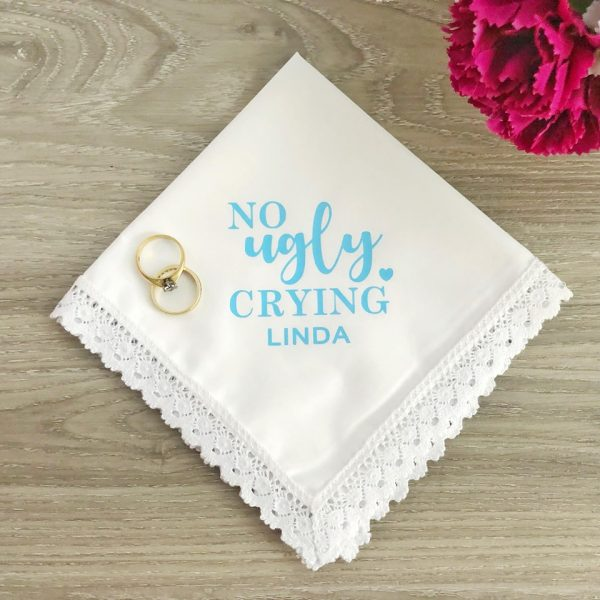 Funny Wedding Hanky; Keep your Shit together gift, Funny gift for Bride, No Ugly Crying gift, Bridesmaid gift