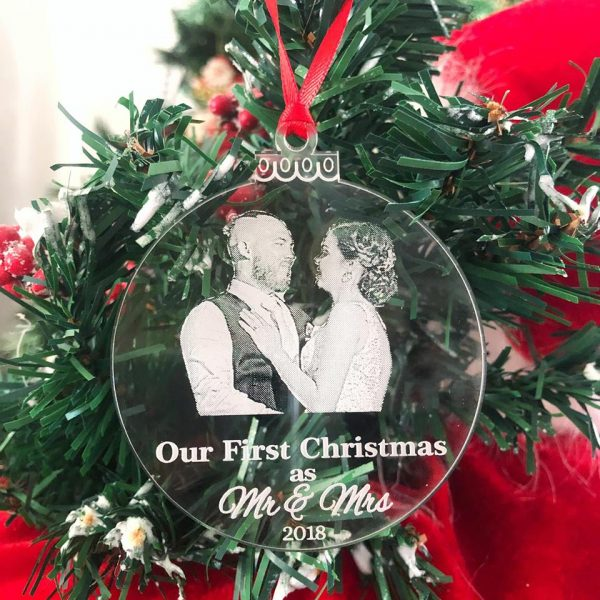 Mr & Mrs Christmas Decoration, mr mrs Photo ornament, Unique Christmas Gift for Newlyweds