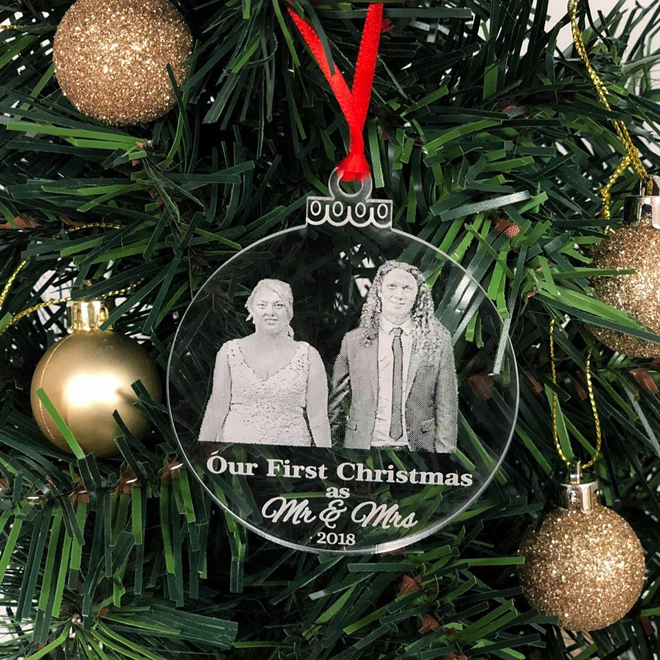 Our First Christmas Ornament, Mr and Mrs Gift   Bridal Bling