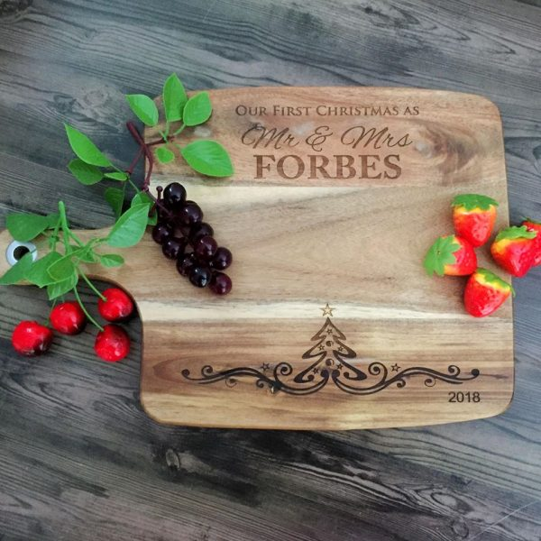 Custom Cheese Board Christmas Gift for Newlywed, Wooden Engraved Cheese Board,