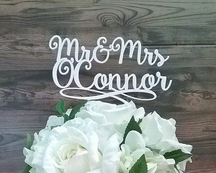 Last Name Topper for Wedding Cake, Unique Cake Topper Personalised Name,